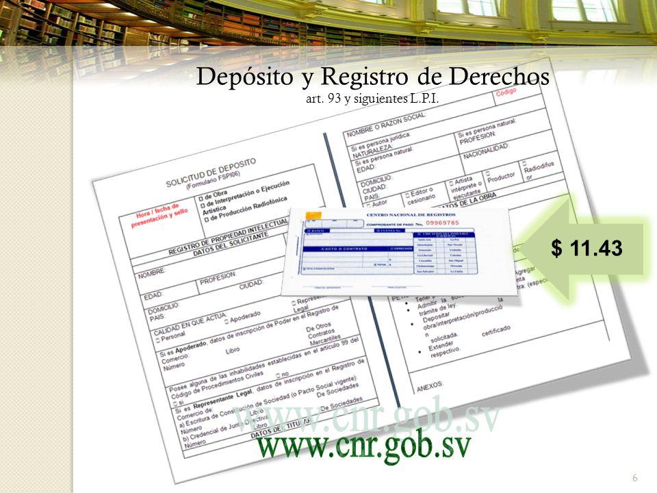 6 Depósito y Registro de Derechos art. 93 y siguientes L.P.I. $ 11.43
