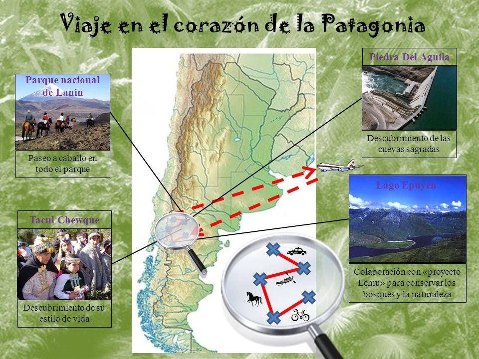 Viaje en el corazón de la Patagonia Lago Epuyén Colaboración con «proyecto Lemu» para conservar los bosques y la naturaleza Tacul Chewque Descubrimiento de su estilo de vida Parque nacional de Lanin Paseo a caballo en todo el parque Piedra Del Aguila Descubrimiento de las cuevas sagradas