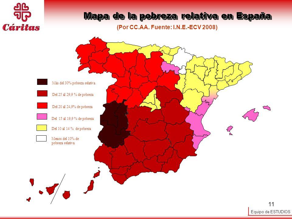 Equipo de ESTUDIOS 11 (Por CC.AA. Fuente: I.N.E.-ECV 2008) Mapa de la pobreza relativa en España Del 15 al 19,9 % de pobreza Del 10 al 14 % de pobreza