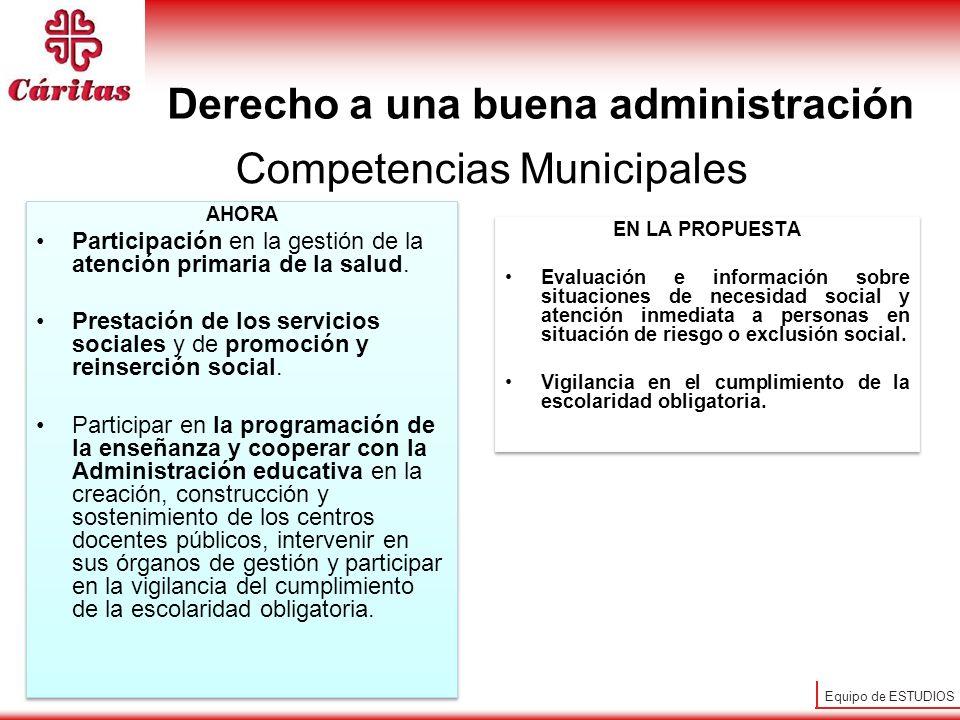 Equipo de ESTUDIOS Competencias Municipales AHORA Participación en la gestión de la atención primaria de la salud. Prestación de los servicios sociale