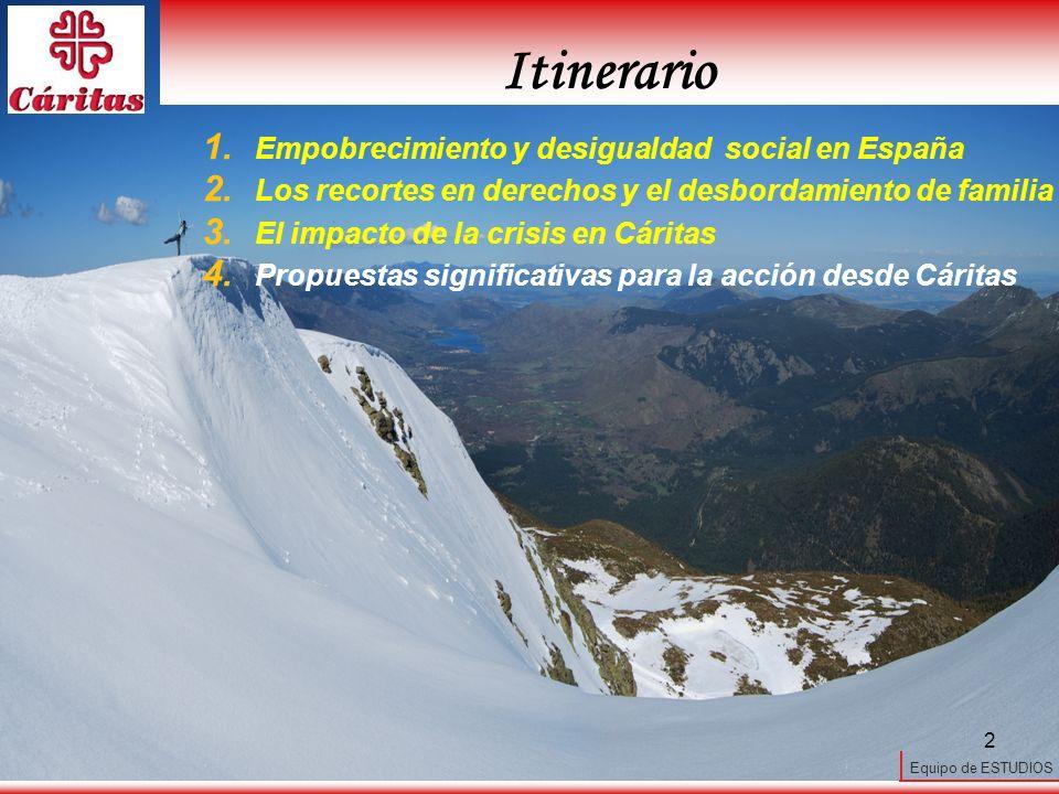 Equipo de ESTUDIOS 2 1. Empobrecimiento y desigualdad social en España 2. Los recortes en derechos y el desbordamiento de familia 3. El impacto de la