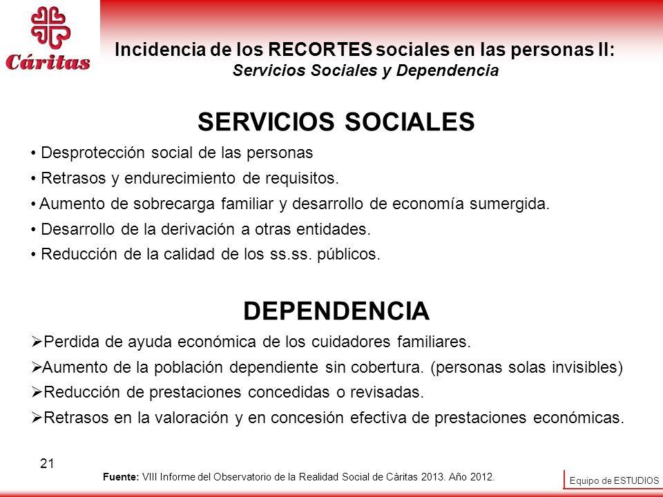 Equipo de ESTUDIOS 21 Incidencia de los RECORTES sociales en las personas II: Servicios Sociales y Dependencia SERVICIOS SOCIALES Desprotección social