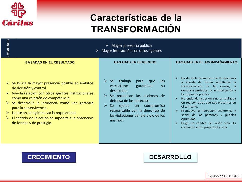 Equipo de ESTUDIOS CRECIMIENTO DESARROLLO Características de la TRANSFORMACIÓN