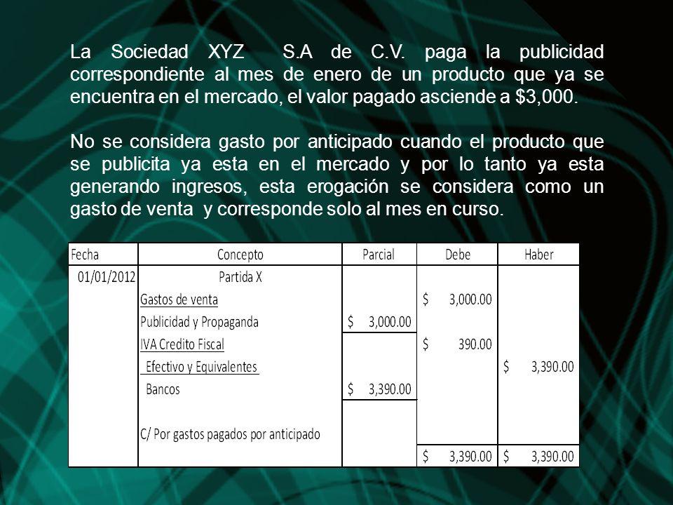 La Sociedad XYZ S.A de C.V. paga la publicidad correspondiente al mes de enero de un producto que ya se encuentra en el mercado, el valor pagado ascie