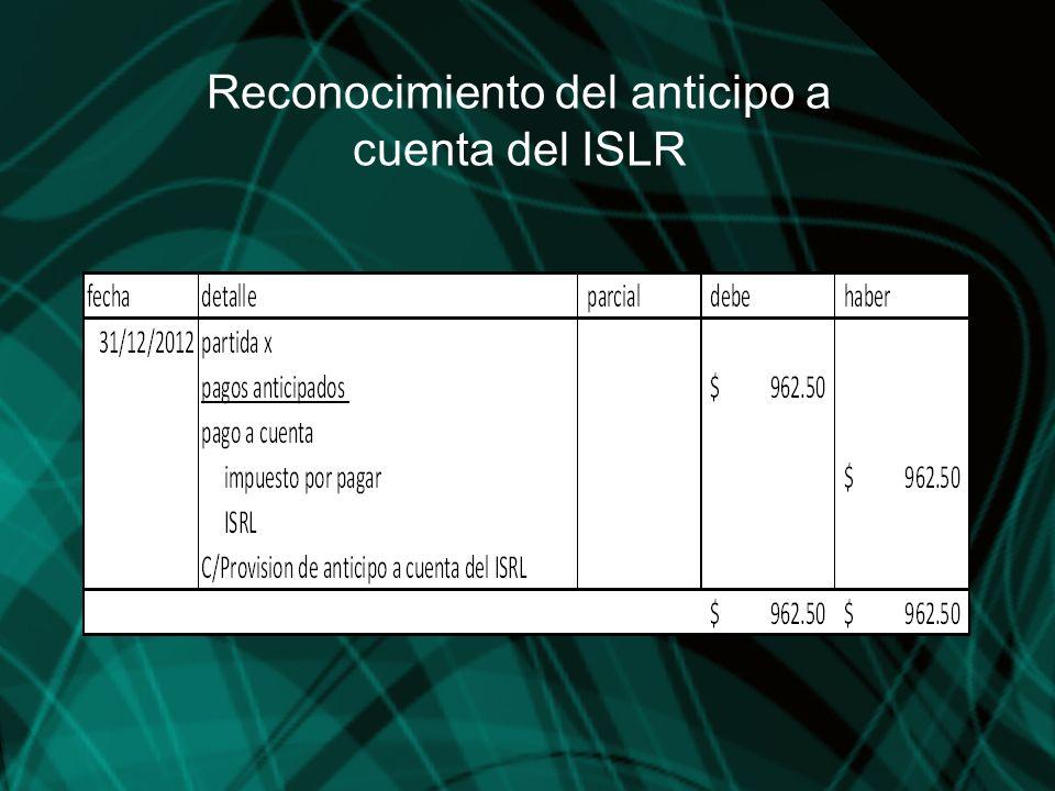 Reconocimiento del anticipo a cuenta del ISLR