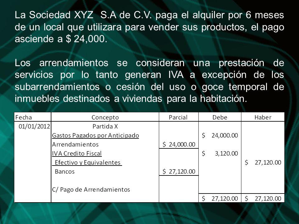 La Sociedad XYZ S.A de C.V. paga el alquiler por 6 meses de un local que utilizara para vender sus productos, el pago asciende a $ 24,000. Los arrenda