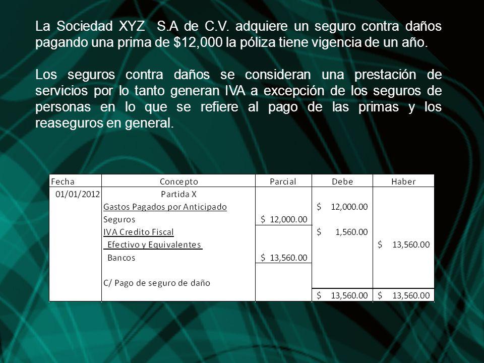 La Sociedad XYZ S.A de C.V. adquiere un seguro contra daños pagando una prima de $12,000 la póliza tiene vigencia de un año. Los seguros contra daños