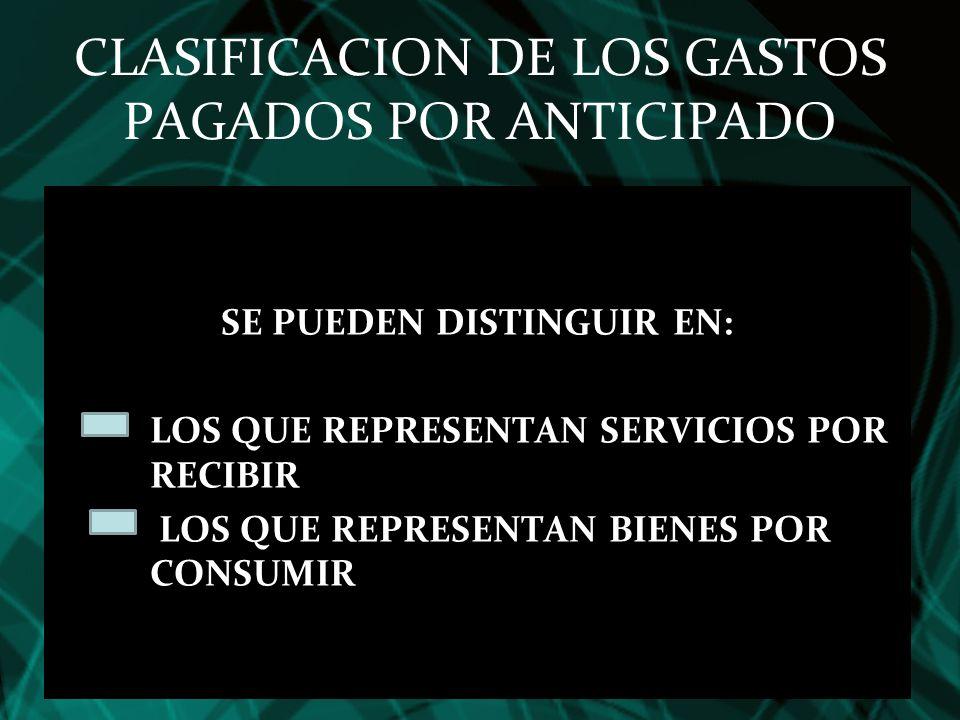 CLASIFICACION DE LOS GASTOS PAGADOS POR ANTICIPADO SE PUEDEN DISTINGUIR EN: LOS QUE REPRESENTAN SERVICIOS POR RECIBIR LOS QUE REPRESENTAN BIENES POR C