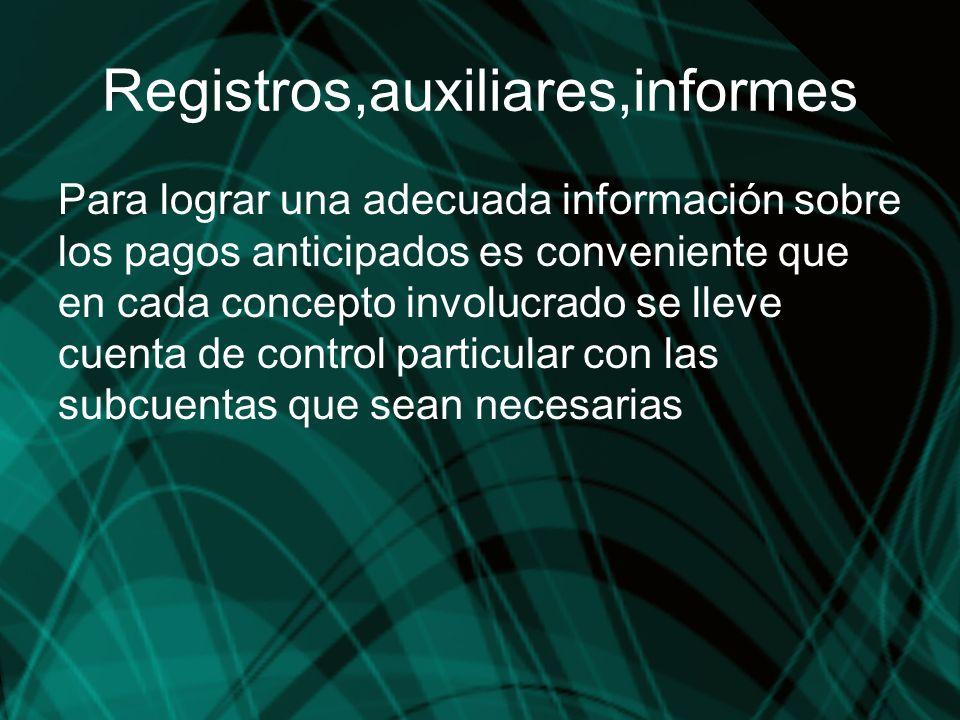Registros,auxiliares,informes Para lograr una adecuada información sobre los pagos anticipados es conveniente que en cada concepto involucrado se llev