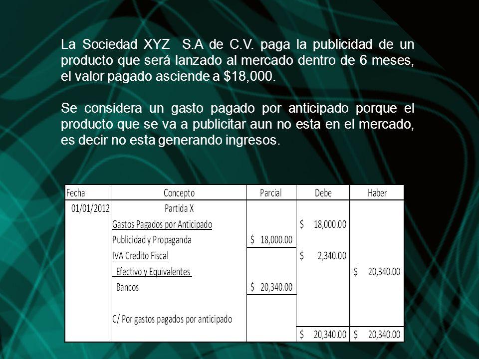 La Sociedad XYZ S.A de C.V. paga la publicidad de un producto que será lanzado al mercado dentro de 6 meses, el valor pagado asciende a $18,000. Se co