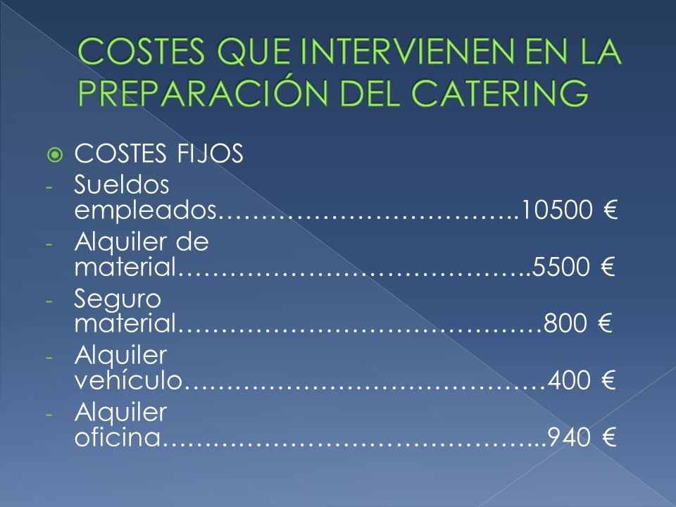 COSTES FIJOS - Sueldos empleados……………………………..10500 - Alquiler de material…………………………………..5500 - Seguro material……………………………………800 - Alquiler vehículo……………………………………400 - Alquiler oficina……………………………………...940