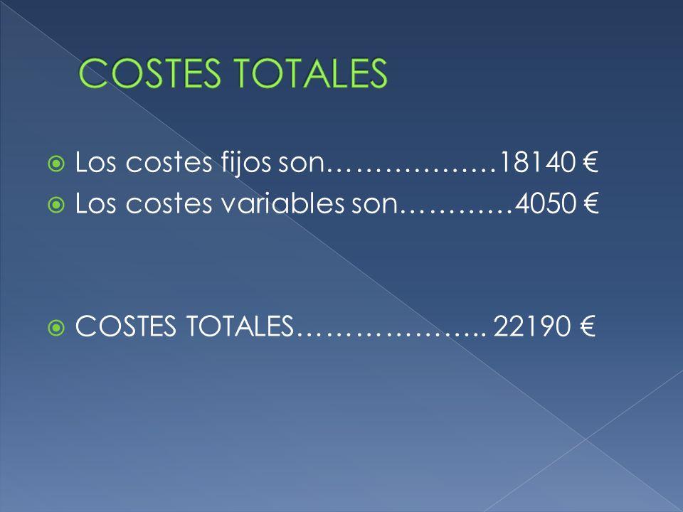 Los costes fijos son………………18140 Los costes variables son…………4050 COSTES TOTALES……………….. 22190