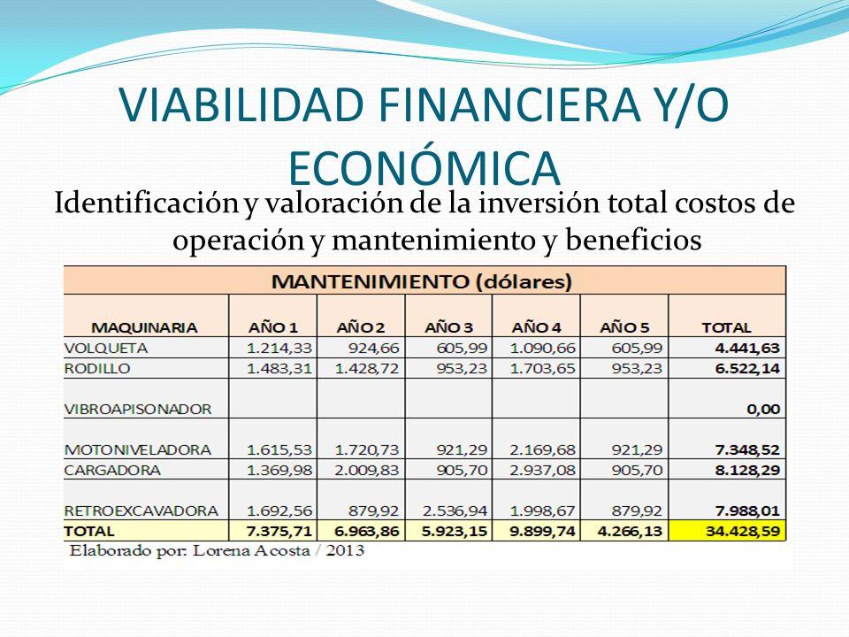 VIABILIDAD FINANCIERA Y/O ECONÓMICA Identificación y valoración de la inversión total costos de operación y mantenimiento y beneficios