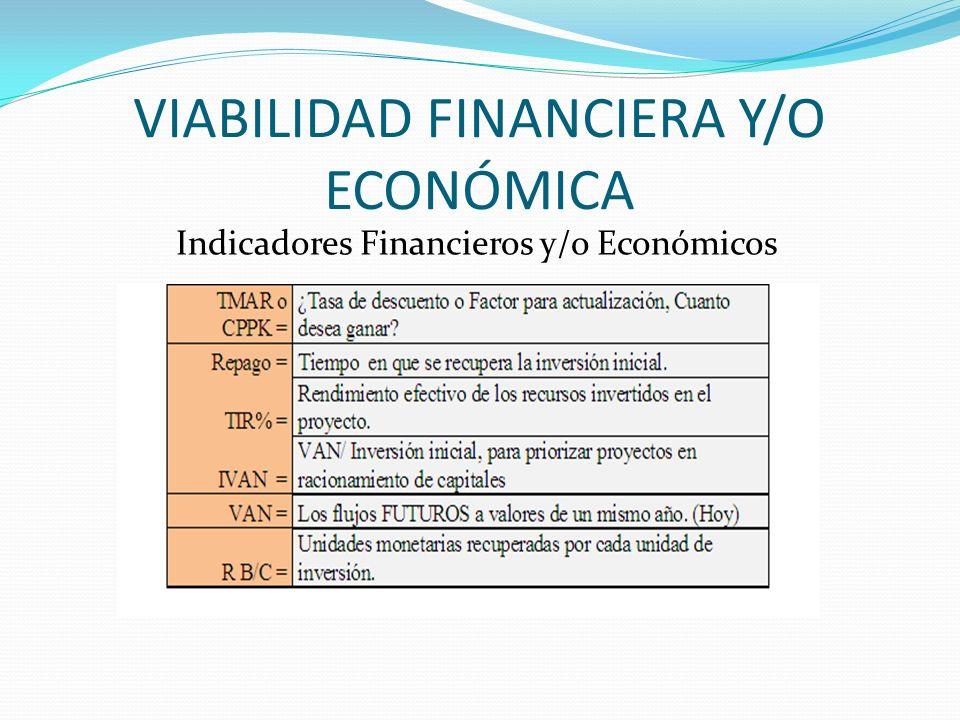 VIABILIDAD FINANCIERA Y/O ECONÓMICA Indicadores Financieros y/o Económicos