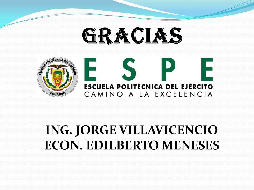 GRACIAS ING. JORGE VILLAVICENCIO ECON. EDILBERTO MENESES