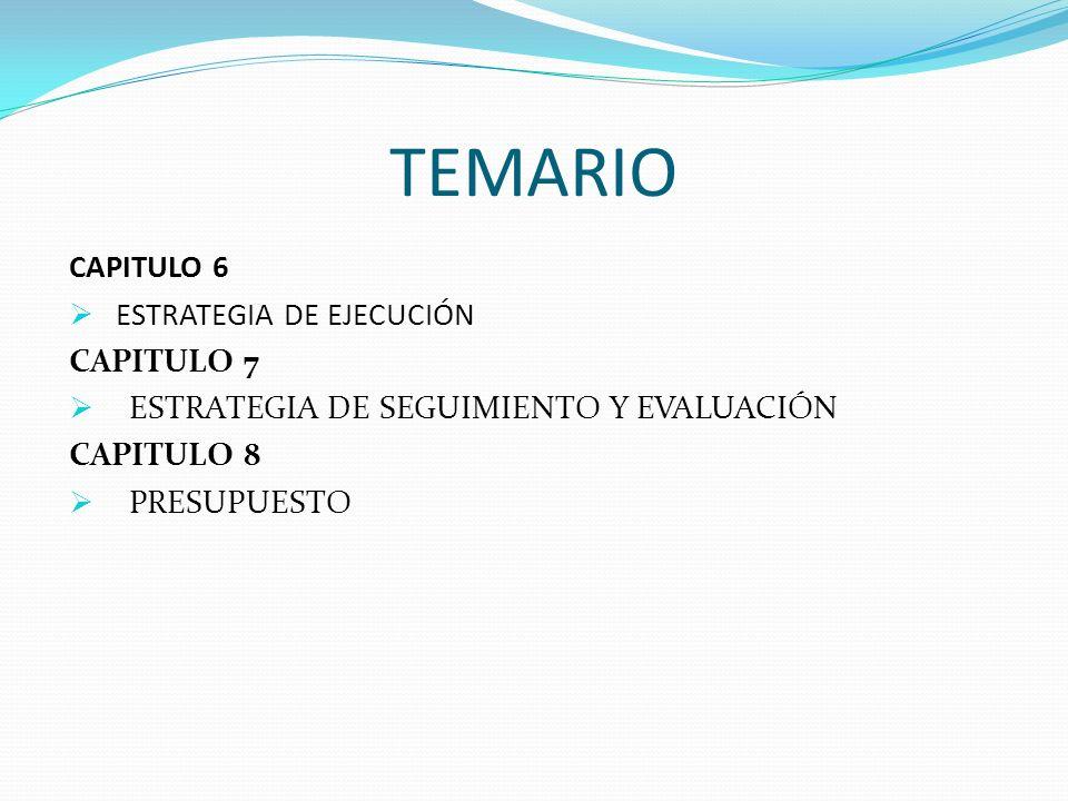 TEMARIO CAPITULO 6 ESTRATEGIA DE EJECUCIÓN CAPITULO 7 ESTRATEGIA DE SEGUIMIENTO Y EVALUACIÓN CAPITULO 8 PRESUPUESTO