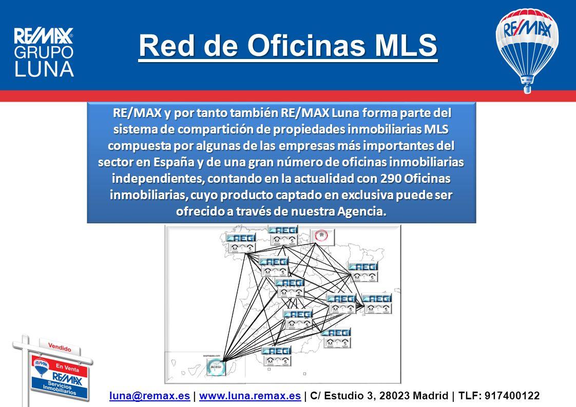 Red de Oficinas MLS RE/MAX y por tanto también RE/MAX Luna forma parte del sistema de compartición de propiedades inmobiliarias MLS compuesta por algu