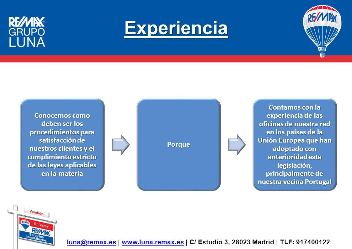 Experiencia luna@remax.esluna@remax.es | www.luna.remax.es | C/ Estudio 3, 28023 Madrid | TLF: 917400122www.luna.remax.es Conocemos como deben ser los