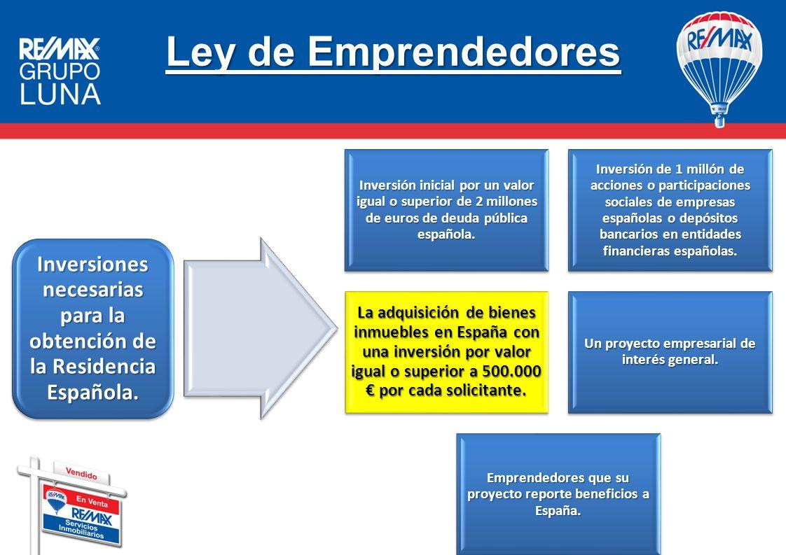 Ley de Emprendedores Inversión inicial por un valor igual o superior de 2 millones de euros de deuda pública española. Inversión de 1 millón de accion