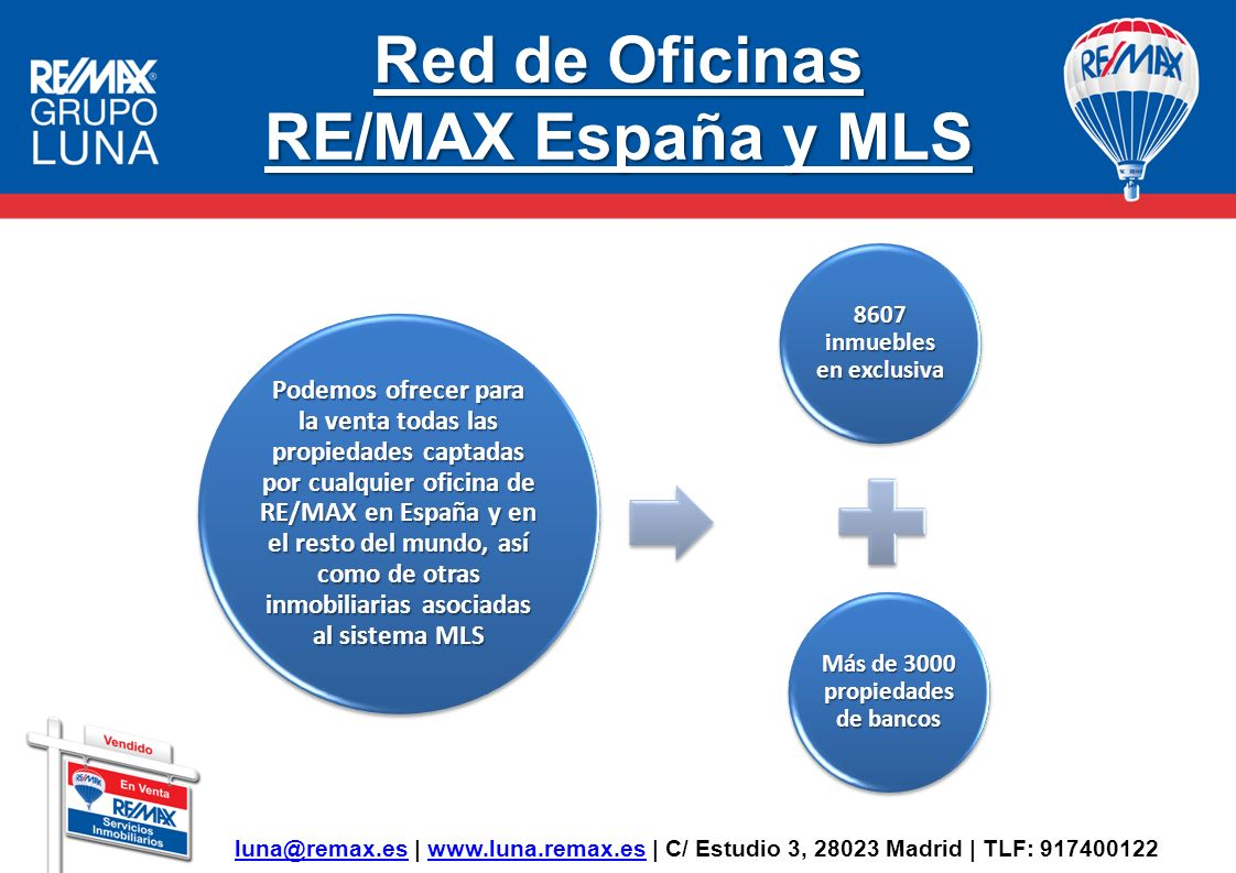 Red de Oficinas MLS RE/MAX y por tanto también RE/MAX Luna forma parte del sistema de compartición de propiedades inmobiliarias MLS compuesta por algunas de las empresas más importantes del sector en España y de una gran número de oficinas inmobiliarias independientes, contando en la actualidad con 290 Oficinas inmobiliarias, cuyo producto captado en exclusiva puede ser ofrecido a través de nuestra Agencia.