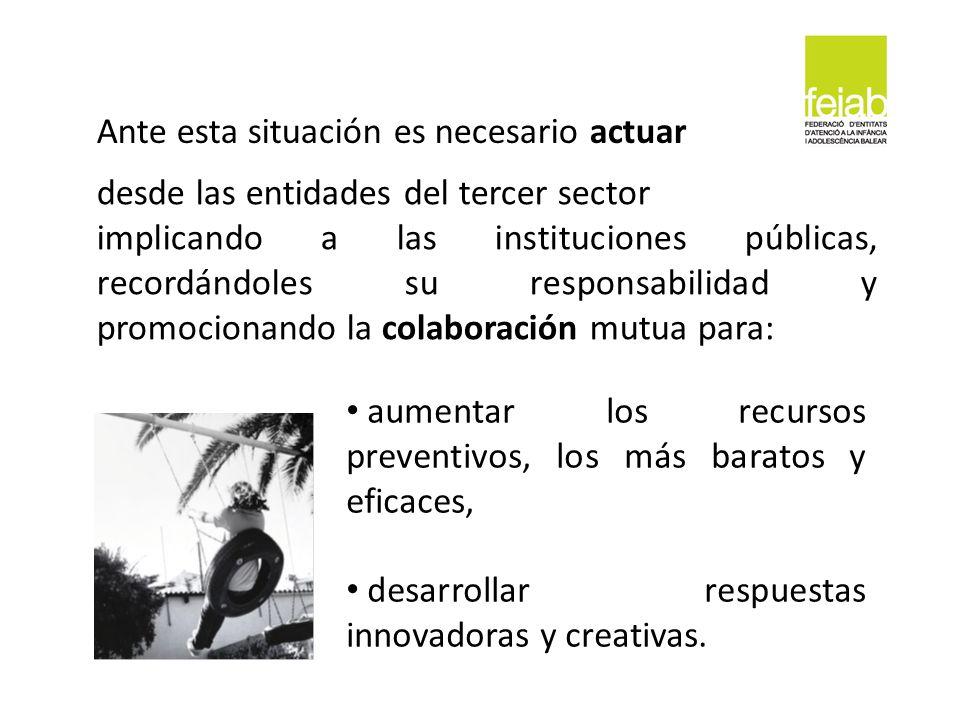 desde las entidades del tercer sector implicando a las instituciones públicas, recordándoles su responsabilidad y promocionando la colaboración mutua
