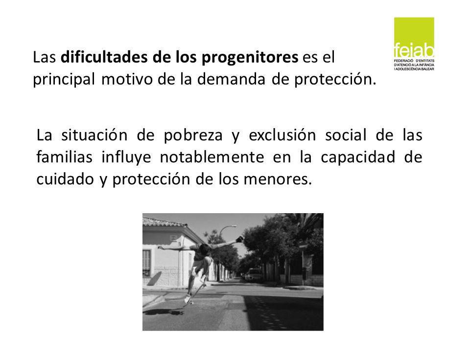 Las dificultades de los progenitores es el principal motivo de la demanda de protección. La situación de pobreza y exclusión social de las familias in