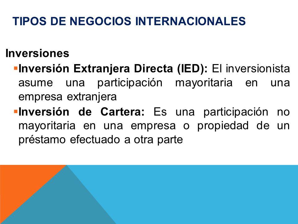 TIPOS DE NEGOCIOS INTERNACIONALES Inversiones Inversión Extranjera Directa (IED): El inversionista asume una participación mayoritaria en una empresa