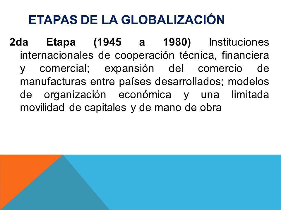 ETAPAS DE LA GLOBALIZACIÓN 3era Etapa (1980 en adelante) Libre comercio; Empresas transnacionales; la expansión y movilidad de los capitales; acceso a la información en tiempo real, gracias al desarrollo de tecnologías de información y comunicaciones.