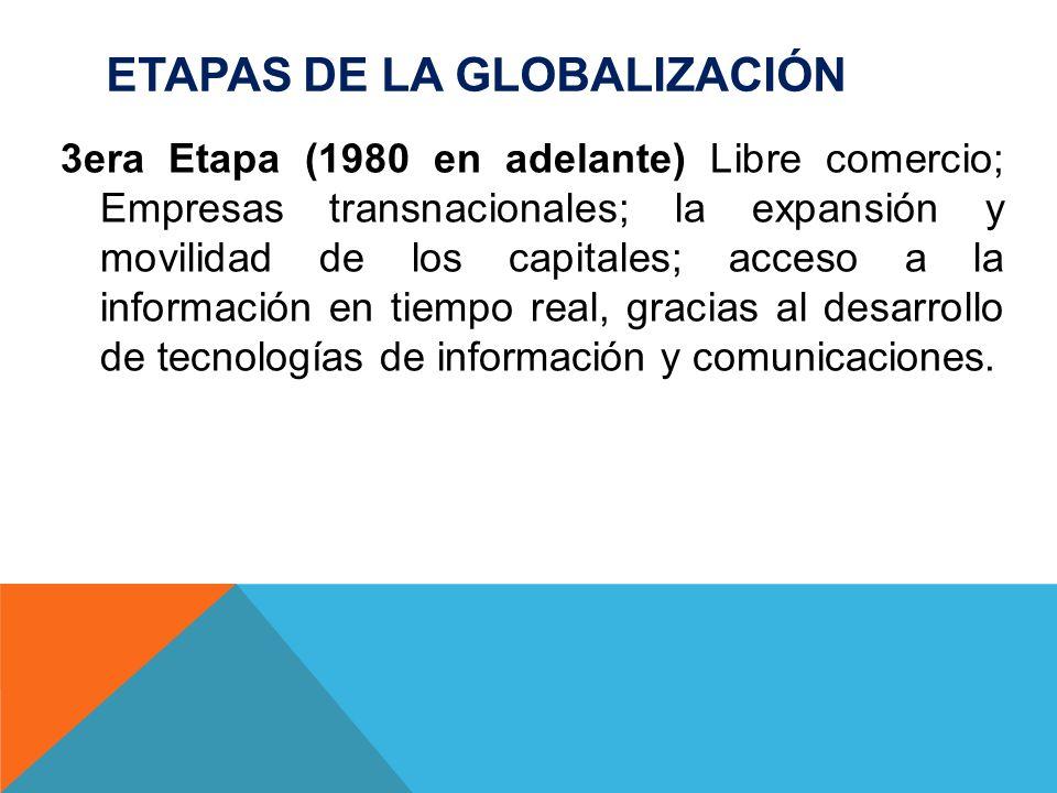 ETAPAS DE LA GLOBALIZACIÓN 3era Etapa (1980 en adelante) Libre comercio; Empresas transnacionales; la expansión y movilidad de los capitales; acceso a