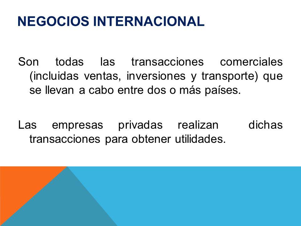 NEGOCIOS INTERNACIONAL Son todas las transacciones comerciales (incluidas ventas, inversiones y transporte) que se llevan a cabo entre dos o más paíse