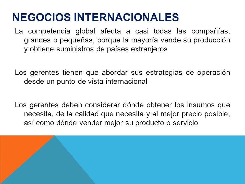 NEGOCIOS INTERNACIONALES La competencia global afecta a casi todas las compañías, grandes o pequeñas, porque la mayoría vende su producción y obtiene