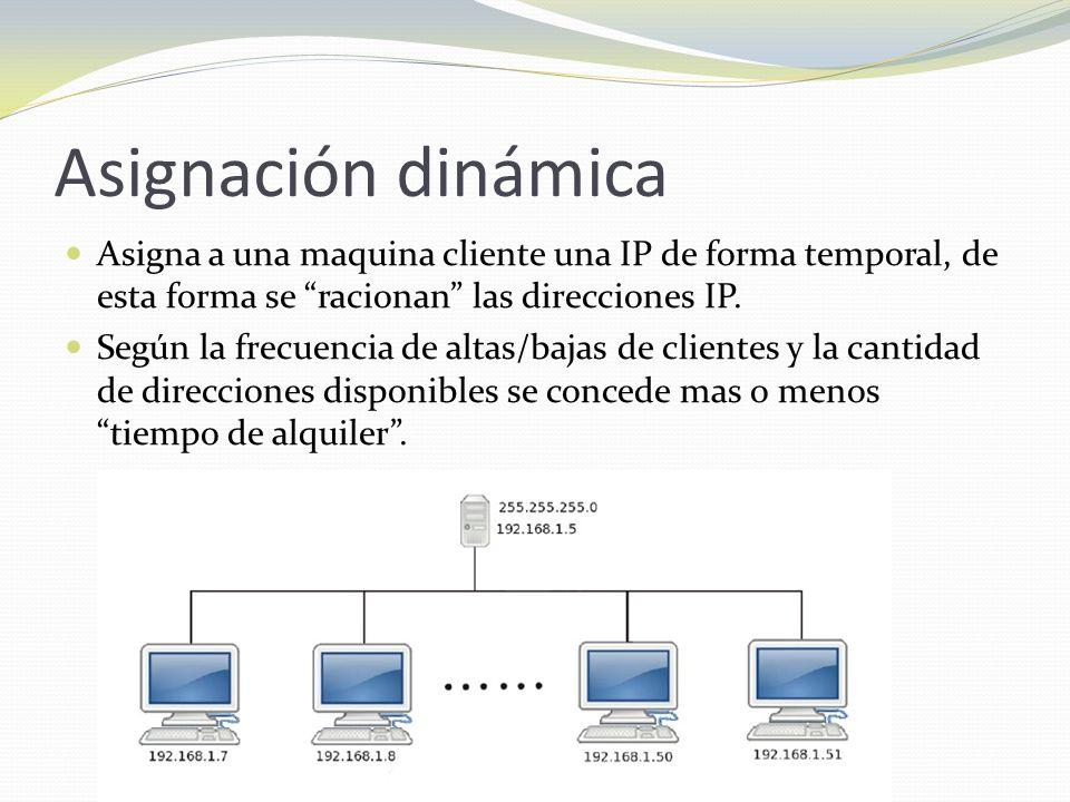 Asignación dinámica Asigna a una maquina cliente una IP de forma temporal, de esta forma se racionan las direcciones IP. Según la frecuencia de altas/