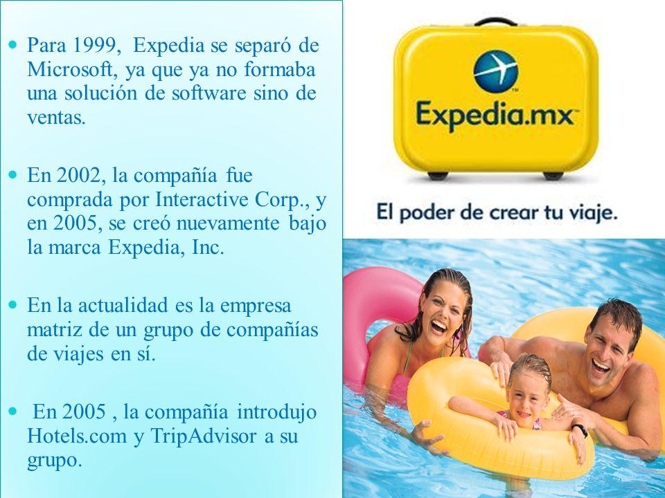 Para 1999, Expedia se separó de Microsoft, ya que ya no formaba una solución de software sino de ventas. En 2002, la compañía fue comprada por Interac