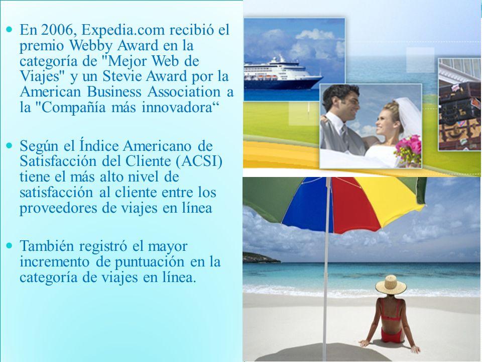 En 2006, Expedia.com recibió el premio Webby Award en la categoría de Mejor Web de Viajes y un Stevie Award por la American Business Association a la Compañía más innovadora Según el Índice Americano de Satisfacción del Cliente (ACSI) tiene el más alto nivel de satisfacción al cliente entre los proveedores de viajes en línea También registró el mayor incremento de puntuación en la categoría de viajes en línea.