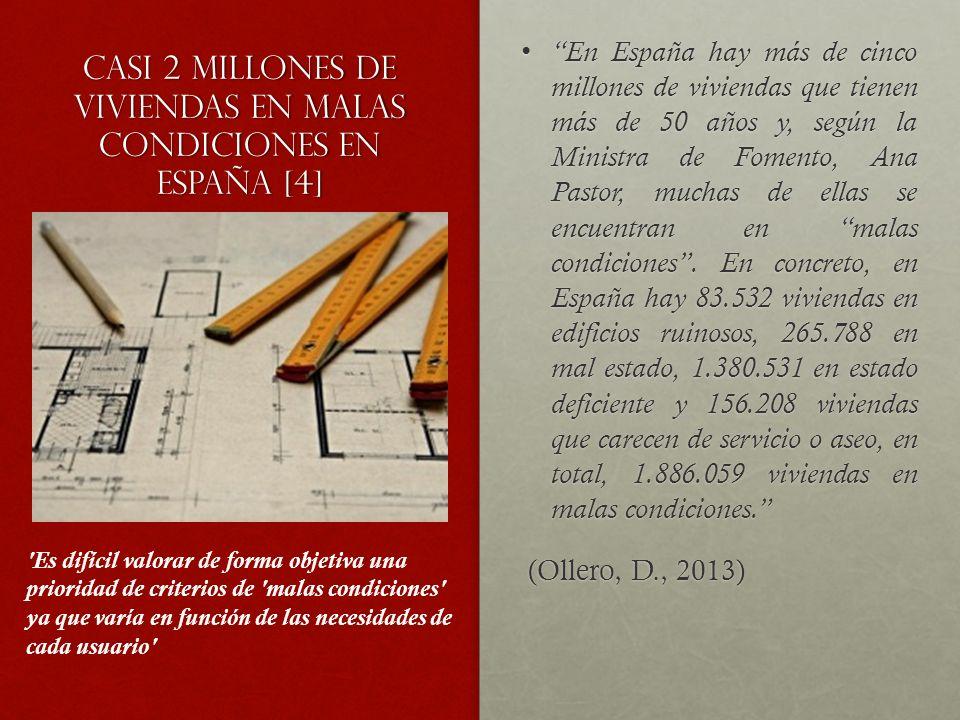 Casi 2 millones de viviendas en malas condiciones en España [4] En España hay más de cinco millones de viviendas que tienen más de 50 años y, según la Ministra de Fomento, Ana Pastor, muchas de ellas se encuentran en malas condiciones.