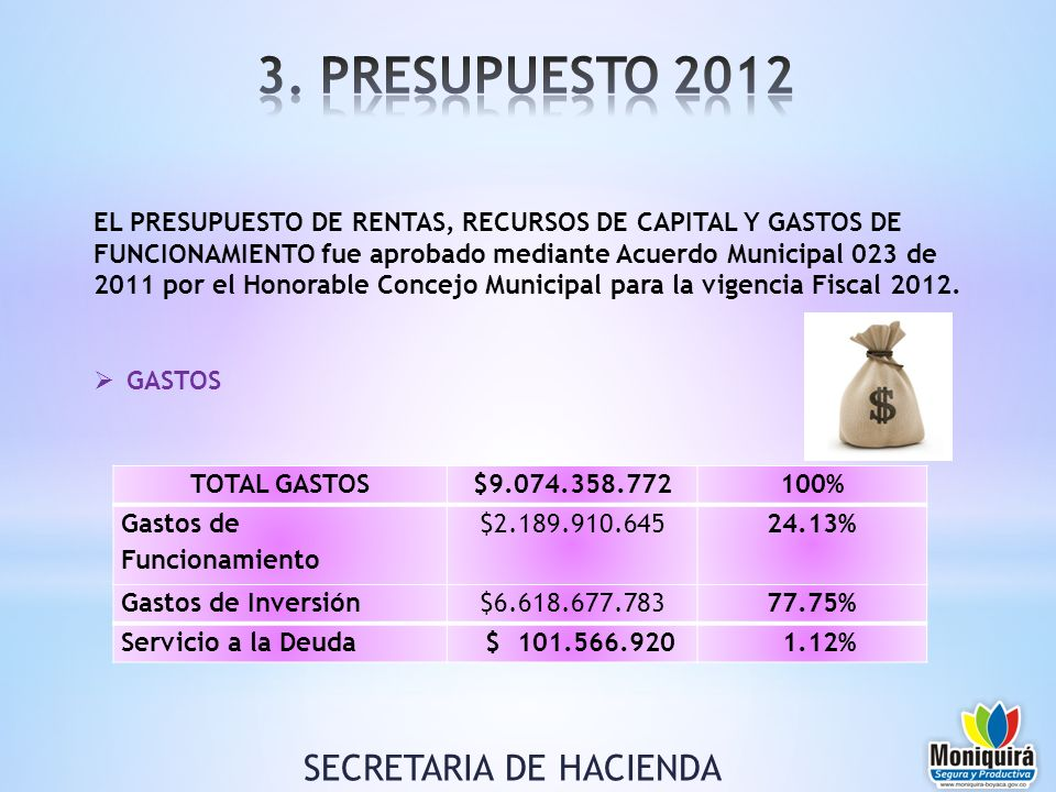 EL PRESUPUESTO DE RENTAS, RECURSOS DE CAPITAL Y GASTOS DE FUNCIONAMIENTO fue aprobado mediante Acuerdo Municipal 023 de 2011 por el Honorable Concejo