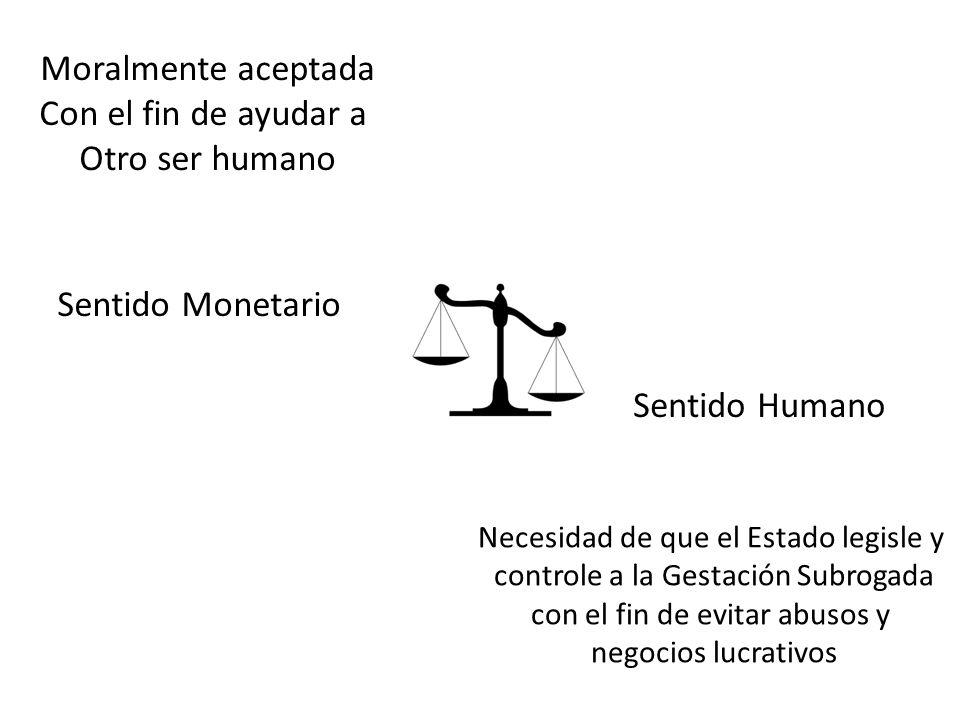 Moralmente aceptada Con el fin de ayudar a Otro ser humano Sentido Humano Sentido Monetario Necesidad de que el Estado legisle y controle a la Gestaci