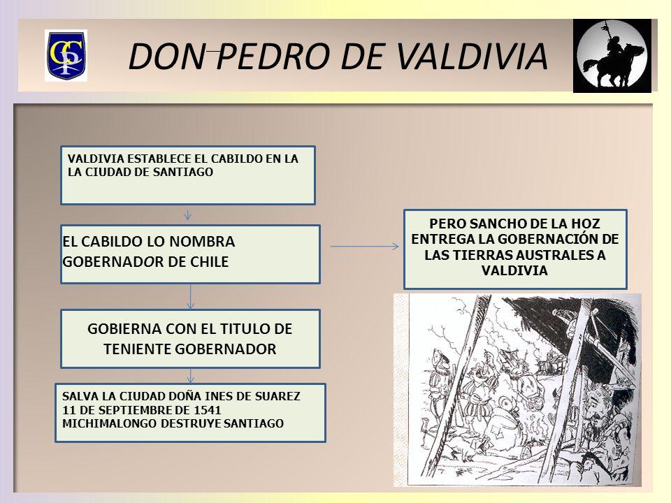 DON PEDRO DE VALDIVIA VALDIVIA ESTABLECE EL CABILDO EN LA LA CIUDAD DE SANTIAGO GOBIERNA CON EL TITULO DE TENIENTE GOBERNADOR SALVA LA CIUDAD DOÑA INE