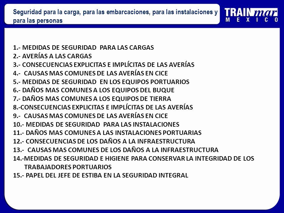 1.- MEDIDAS DE SEGURIDAD PARA LAS CARGAS 2.- AVERÍAS A LAS CARGAS 3.- CONSECUENCIAS EXPLICITAS E IMPLÍCITAS DE LAS AVERÍAS 4.- CAUSAS MAS COMUNES DE L