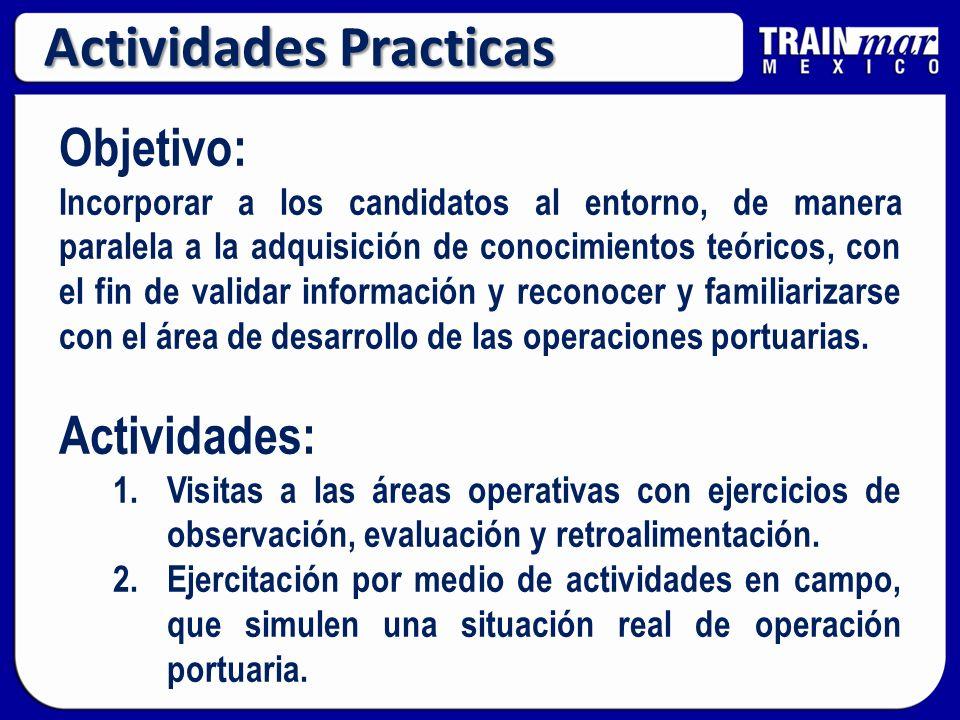 Objetivo: Incorporar a los candidatos al entorno, de manera paralela a la adquisición de conocimientos teóricos, con el fin de validar información y reconocer y familiarizarse con el área de desarrollo de las operaciones portuarias.