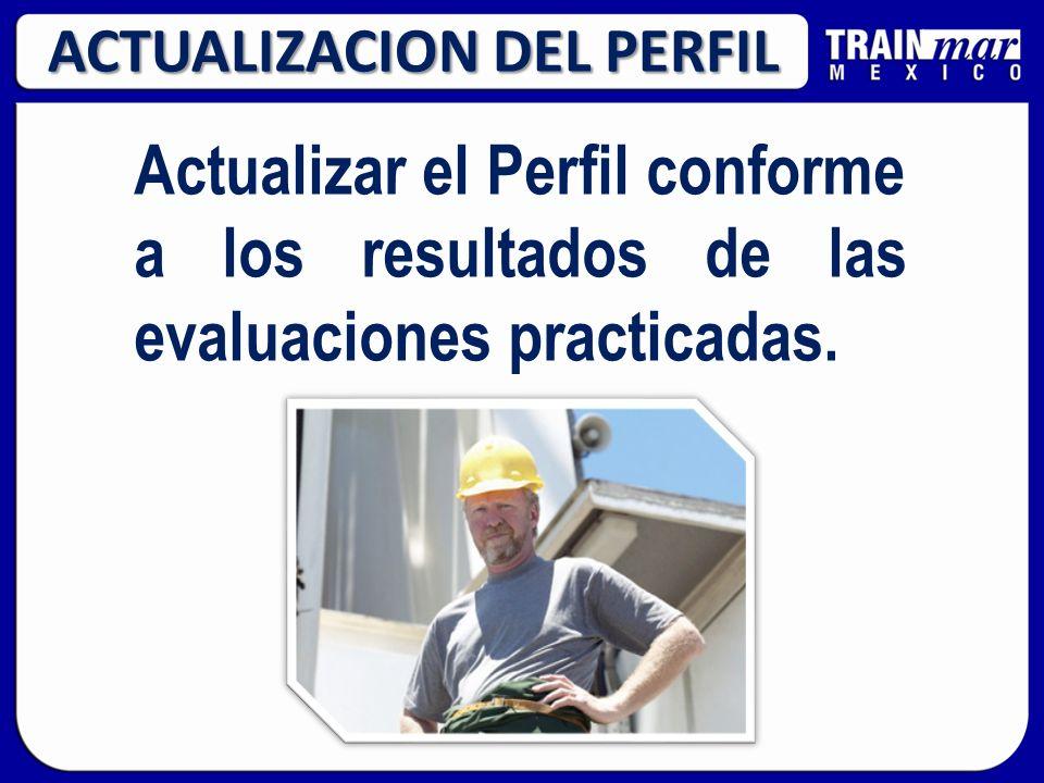 ACTUALIZACION DEL PERFIL Actualizar el Perfil conforme a los resultados de las evaluaciones practicadas.