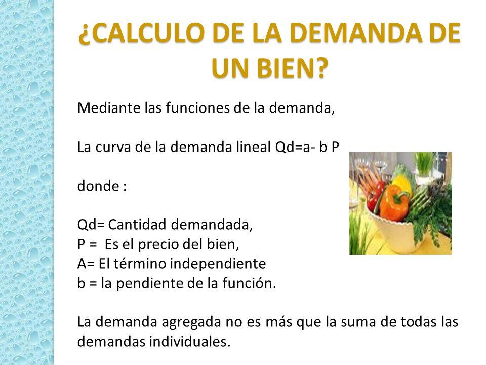 Mediante las funciones de la demanda, La curva de la demanda lineal Qd=a- b P donde : Qd= Cantidad demandada, P = Es el precio del bien, A= El término