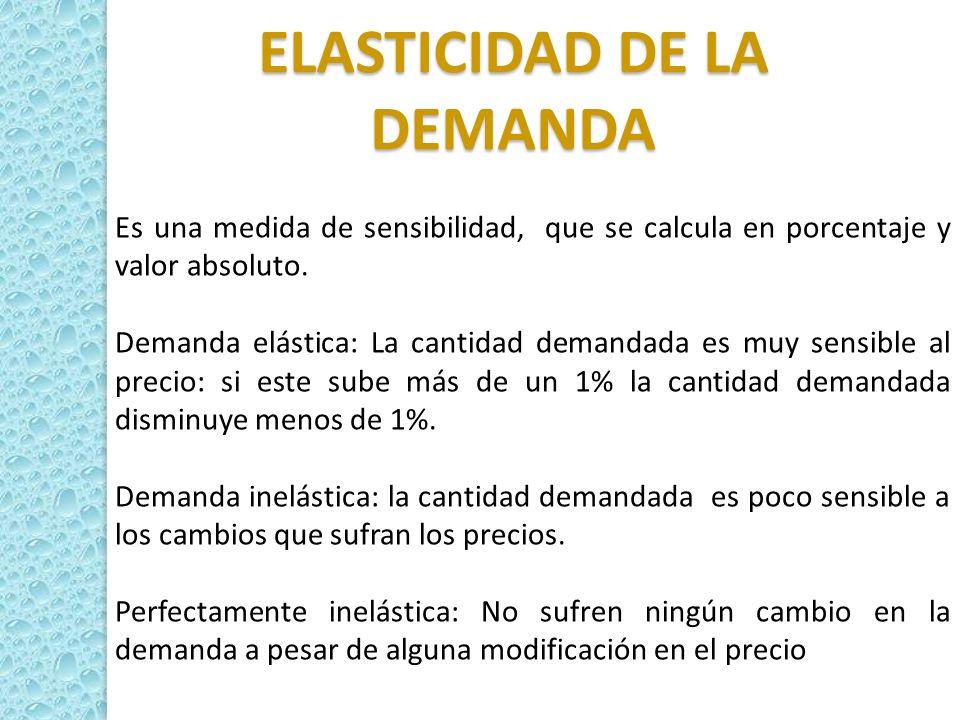 ELASTICIDAD DE LA DEMANDA Es una medida de sensibilidad, que se calcula en porcentaje y valor absoluto. Demanda elástica: La cantidad demandada es muy