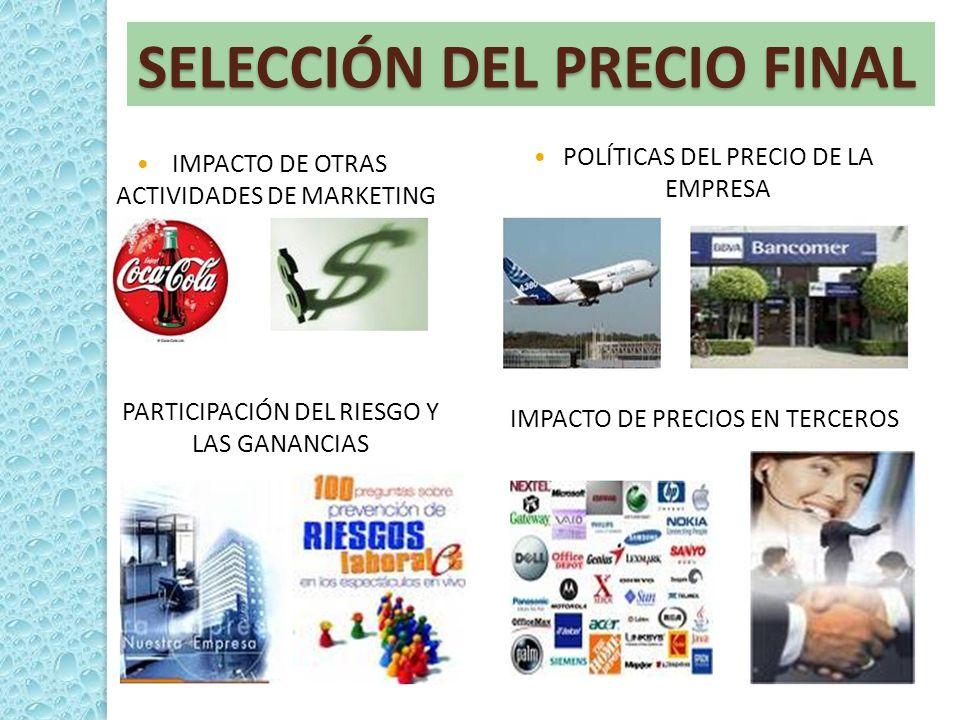 SELECCIÓN DEL PRECIO FINAL IMPACTO DE OTRAS ACTIVIDADES DE MARKETING POLÍTICAS DEL PRECIO DE LA EMPRESA PARTICIPACIÓN DEL RIESGO Y LAS GANANCIAS IMPAC