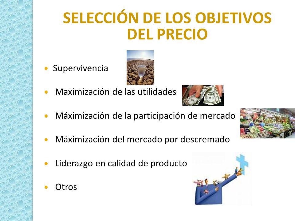 SELECCIÓN DE LOS OBJETIVOS DEL PRECIO Supervivencia Maximización de las utilidades Máximización de la participación de mercado Máximización del mercad