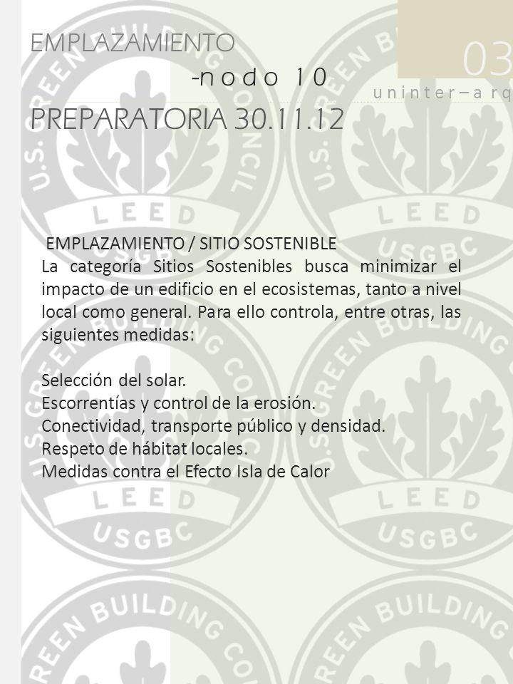 PREPARATORIA 30.11.12 03 u n i n t e r – a r q EMPLAZAMIENTO -n o d o 1 0- EMPLAZAMIENTO / SITIO SOSTENIBLE La categoría Sitios Sostenibles busca mini