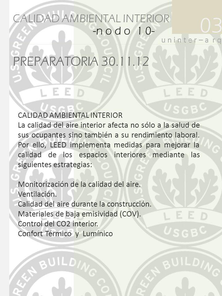 PREPARATORIA 30.11.12 03 u n i n t e r – a r q CALIDAD AMBIENTAL INTERIOR -n o d o 1 0- CALIDAD AMBIENTAL INTERIOR La calidad del aire interior afecta