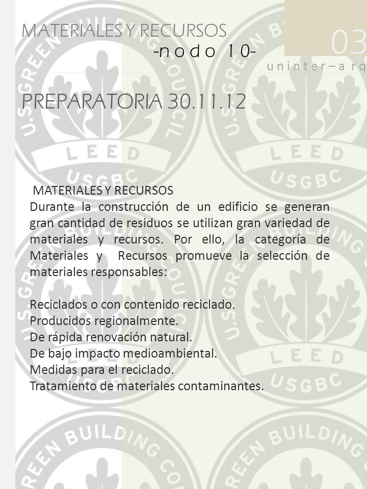 PREPARATORIA 30.11.12 03 u n i n t e r – a r q MATERIALES Y RECURSOS -n o d o 1 0- MATERIALES Y RECURSOS Durante la construcción de un edificio se gen