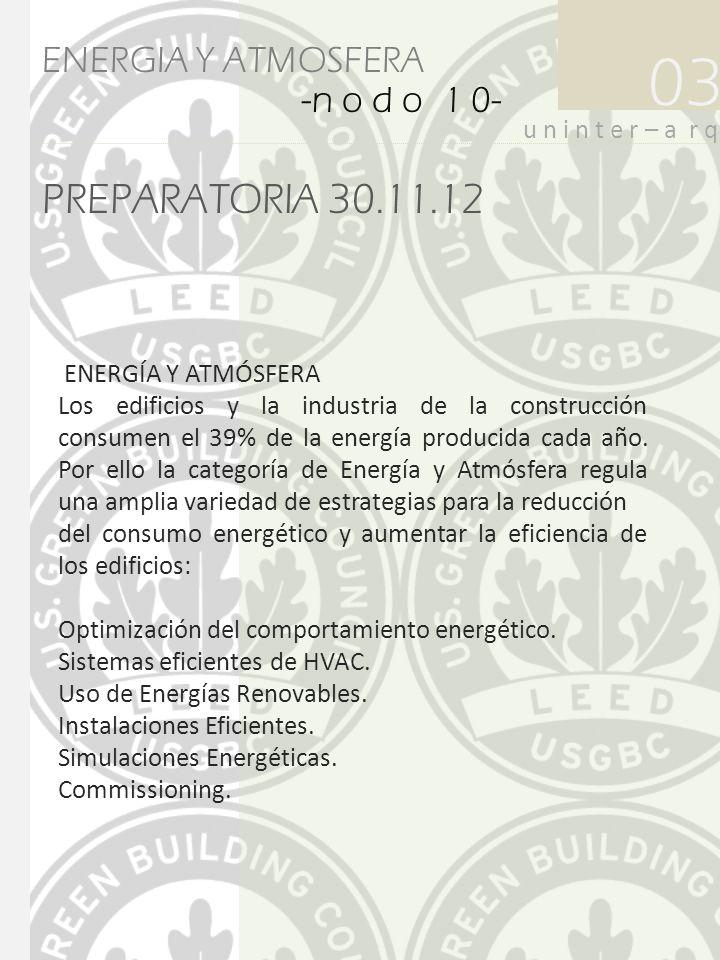 PREPARATORIA 30.11.12 03 u n i n t e r – a r q ENERGIA Y ATMOSFERA -n o d o 1 0- ENERGÍA Y ATMÓSFERA Los edificios y la industria de la construcción c