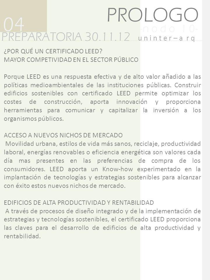 -n o d o 1 0- PREPARATORIA 30.11.12 04 u n i n t e r – a r q PROLOGO ALTA EFICIENCIA ENERGÉTICA Y ECONÓMICA.